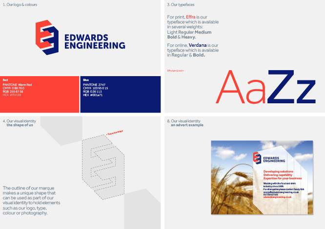 The Edwards Engineering brand guidelines designed by Thunderbolt Projects